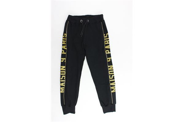 pantalone tuta garzato tinta unita profili colorati MAISON 9 PARIS | Pantaloni | 863NERO