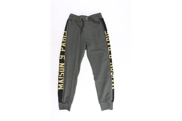 pantalone tuta garzato tinta unita profili colorati MAISON 9 PARIS | Pantaloni | 863VERDE