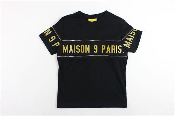 t-shirt mezza manica tinta unita con profili in contrasto MAISON 9 PARIS | T-shirts | 864NERO