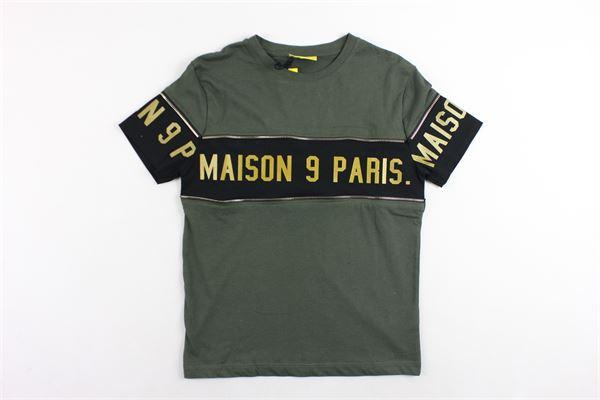 t-shirt mezza manica tinta unita con profili in contrasto MAISON 9 PARIS | T-shirts | 864VERDE