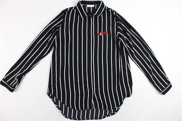 camicia lunga manica lunga rigata con stampa MAISON 9 PARIS | Camicie | CAMICIAMAISON9PARIS1NERO