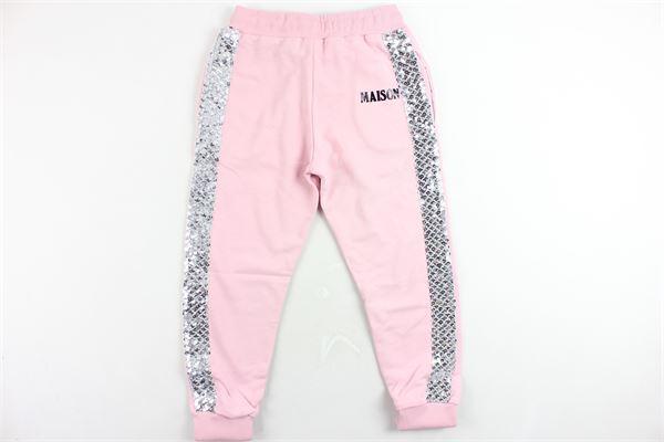pantalone tuta garzato tinta unita con stampa e paillettes MAISON 9 PARIS | Pantaloni | MJRP2002ROSA