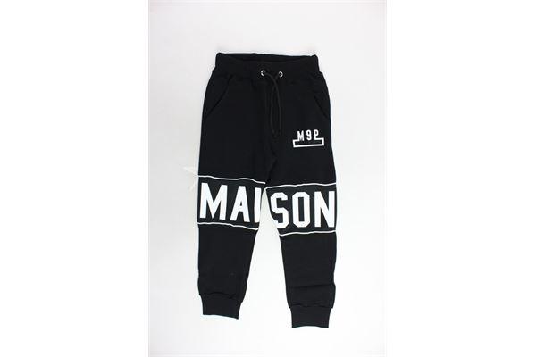 pantalone tuta garzato tinta unita con stampa MAISON 9 PARIS | Pantaloni | PANTALONEMAISON9PARIS1NERO