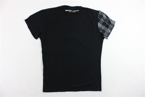 t-shirt mezza manica tinta unita con stampa e fantasia a quadri alla manica MAISON 9 PARIS | T-shirts | T-SHIRTSM9P1NERO