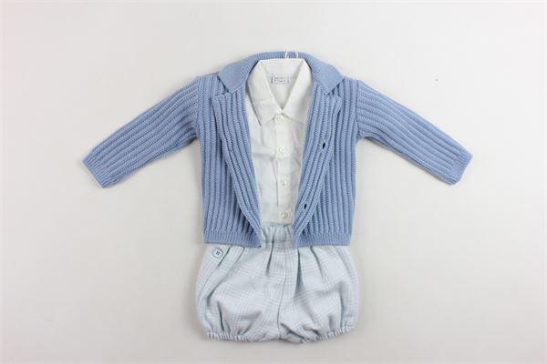 completi 3 pezzi cardigan più camicia a body più pagliacetto MANUEL & FRANK | Completi | MF4111ICELESTE