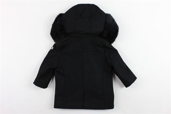 cappotto lungo con cappuccio e profili in pelliccia sintetica tinta unita MANUEL & FRANK | Giubbini | MF6074NNERO
