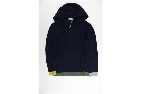 maglione in lana con cappuccio tinta unita MANUEL RITZ | Maglie | MR0009BLU