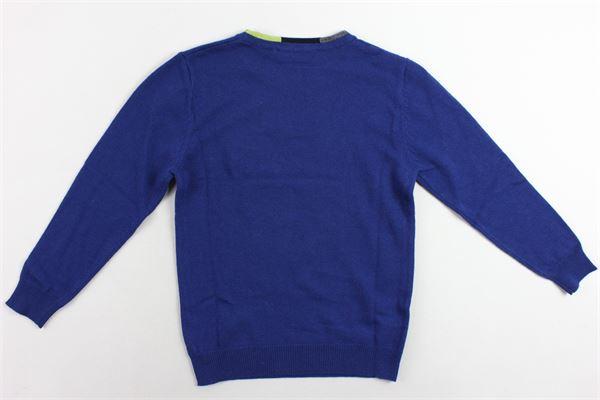 maglione girocollo tinta unita profili colorati MANUEL RITZ | Maglie | MR0423BLU
