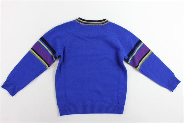 maglione girocollo tinta unita profili colorati MANUEL RITZ | Maglie | MR0425COBALTO