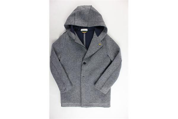cappotto lungo tinta unita con cappuccio MANUEL RITZ | Giubbini | MR0514GRIGIO