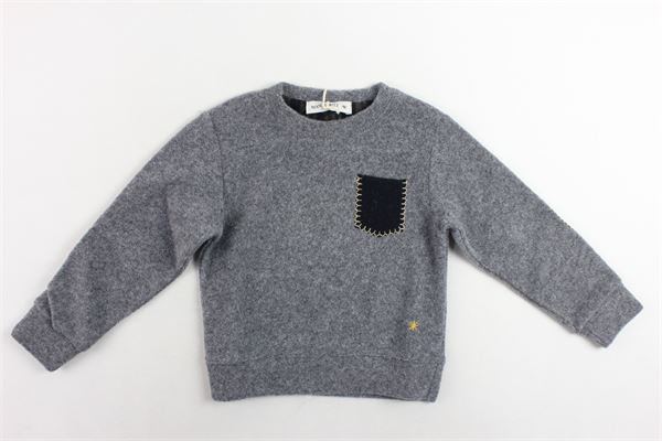 maglione girocollo tinta unita con taschino e toppe in contrasto MANUEL RITZ | Maglie | MR0527GRIGIO