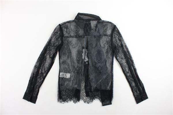 camicia manica lunga in pizzo con fiocco MARC ELLIS | Camicie | JMESH690NERO