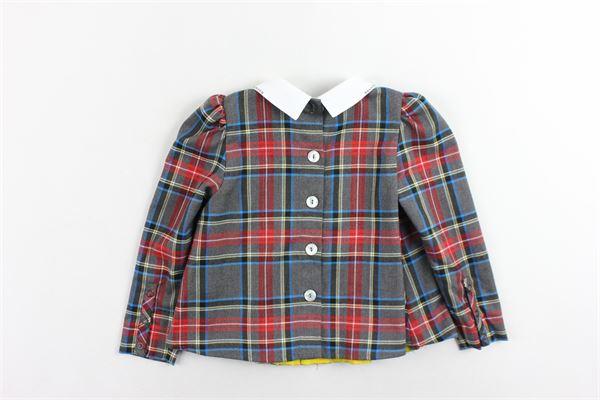 camicia plissè manica lunga fantasia a quadri collo con brillantini MIMISOL | Camicie | MFCA002TS0027GRIGIO
