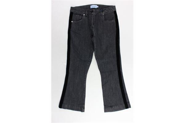 jeans 5 tasche tinta unita a zampa bande laterali in velluto girovita regolabile MIMISOL | Jeans | MFPA012WW0000NERO