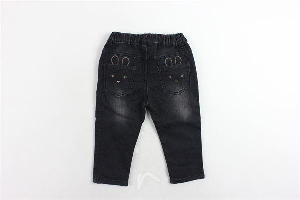 jeans elastico in vita con applicazione brillantini MINI BANDA | Jeans | 3K743/00NERO