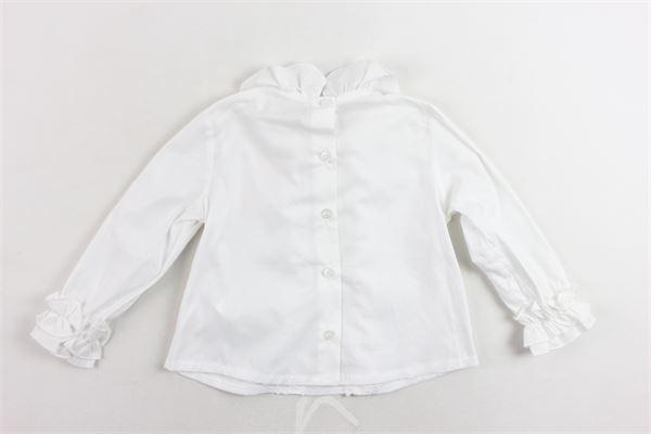 camicia manica lunga tinta unita con rouches MISS BLUMARINE | Camicie | MBL0653BIANCO