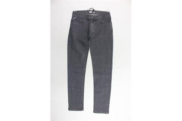 jeans 5 tasche tinta unita girovita regolabile con stampa dietro MOSCHINO | Jeans | HNP01SGRIGIO