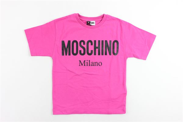 t-shirt mezza manica tinta unita con stampa MOSCHINO | T-shirts | HPM029FUCSIA