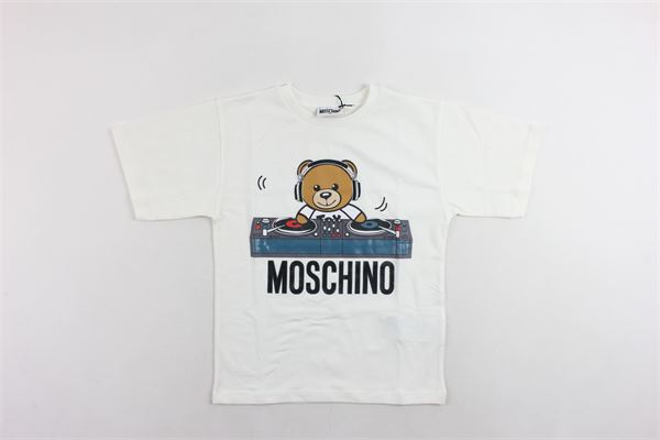 t-shirt mezza manica tinta unita con stampa MOSCHINO | T-shirts | HRM029BIANCO