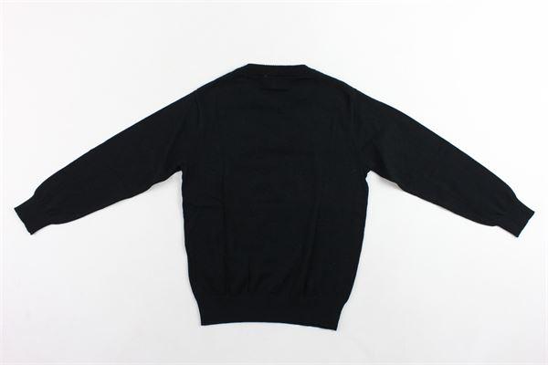 maglione in cotone e lana tinta unita con stampa MOSCHINO | Maglie | HXW004NERO