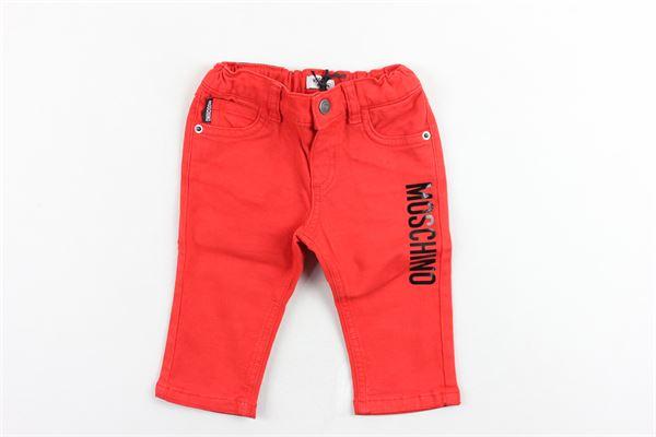 pantalone 5 tasche tinta unita stampa moschino elastico in vita MOSCHINO | Pantaloni | MNP01UROSSO