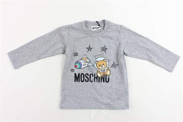 shirt manica lunga cotone caldo tinta unita con stampa MOSCHINO | Shirts | MOM01VGRIGIO