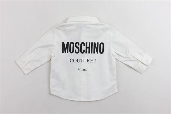 camicia manica lunga tinta unita stampa moschino dietro MOSCHINO | Camicie | MPC002BIANCO