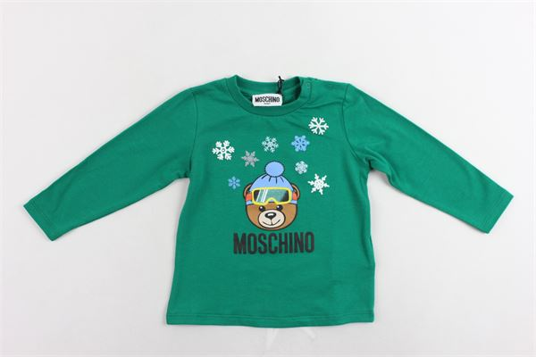 shirt manica lunga cotone caldo tinta unita con stampa MOSCHINO | Shirts | MRM01VVERDE