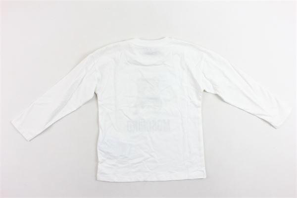 shirt manica lunga cotone caldo tinta unita con stampa MOSCHINO | Shirts | MUM025BIANCO