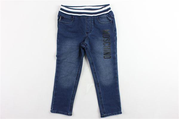 jeans elastico in vita in felpa 5 tasche stampa orso tasca posteriore MOSCHINO | Jeans | MUP032BLU