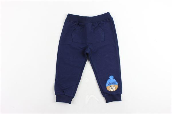 pantalone tuta felpato tinta unita con stampa e tascone MOSCHINO | Pantaloni | MUP036BLU