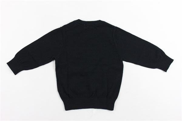 maglione girocollo in cotone e lana tinta unita con stampa moschino e bottoni alla spalla MOSCHINO | Maglie | MVW00GNERO