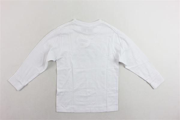 shirt manica lunga cotone caldo tinta unita con stampa MOUSSE KIDS | Shirts | MKTL083BIANCO