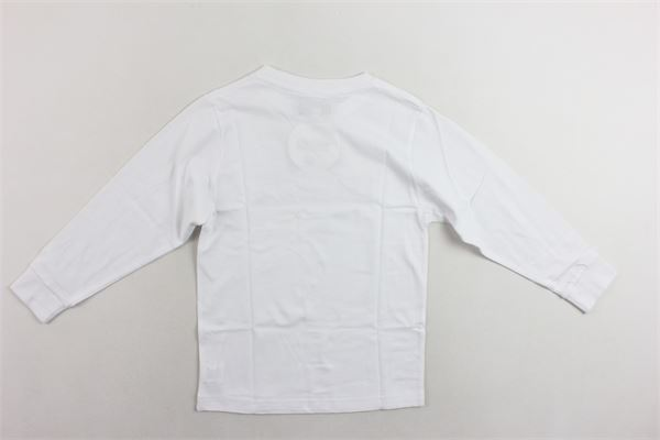 shirt manica lunga cotone caldo tinta unita con stampa MOUSSE KIDS | Shirts | MKTL084BIANCO