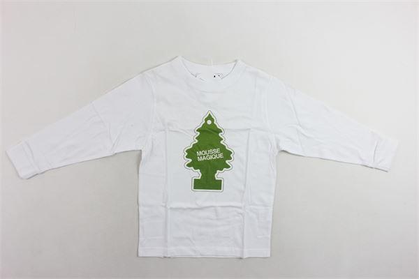 shirt cotone caldo tinta unita con stampa MOUSSE KIDS | Shirts | MKTL086BIANCO