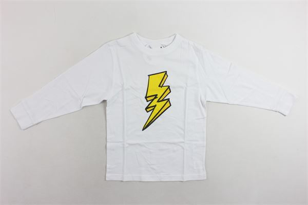 shirt cotone caldo tinta unita con stampa MOUSSE KIDS | Shirts | MKTL088BIANCO