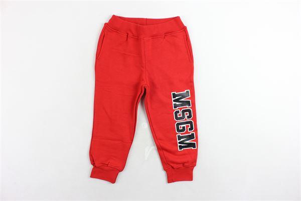 pantalone tuta felpato tinta unita con stampa MSGM | Pantaloni | 016295ROSSO