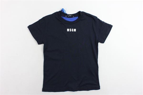 t-shirt mezza manica tinta unita con stampa MSGM | T-shirts | 016514BLU