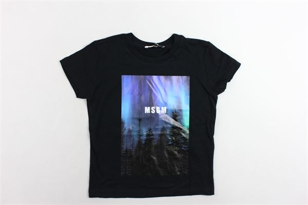 t-shirt mezza manica tinta unita con stampa MSGM | T-shirts | 016518NERO