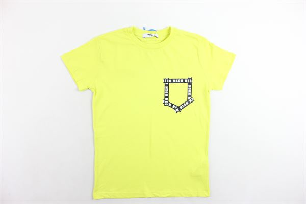 t-shirt mezza manica tinta unita con stampa MSGM | T-shirts | 016519GIALLO