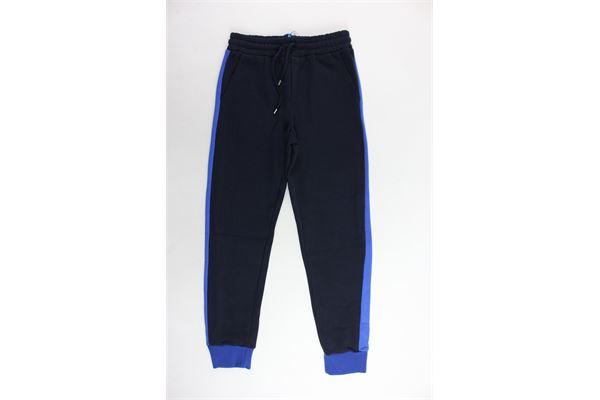 pantalone tuta felpato tinta unita con profili in contrasto MSGM | Pantaloni | 016525BLU