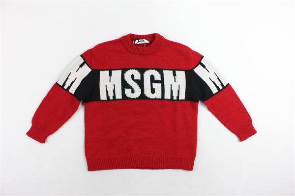 maglione girocollo tinta unita stampa in contrasto MSGM | Maglie | 016549ROSSO