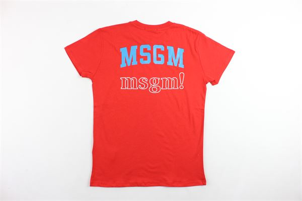 t-shirt mezza manica tinta unita con stampa MSGM | T-shirts | 020279ROSSO