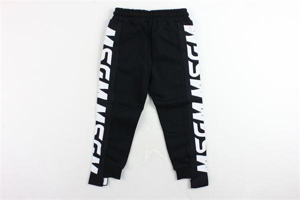 pantalone tuta felpato tinta unita profili msgm MSGM | Pantaloni | 020287NERO