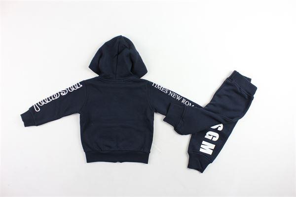 completo tuta felpa con zip e cappuccio più pantalone felpati tinta unita con stampa MSGM | Completi | 020990BLU