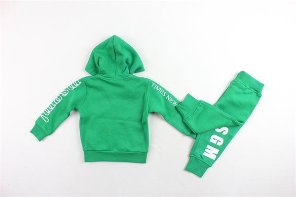 completo tuta felpa con zip e cappuccio più pantalone felpati tinta unita con stampa MSGM | Completi | 020990VERDE