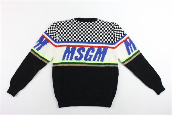 maglione in lana girocollo bicolore con stampa MSGM | Maglie | 021375NERO