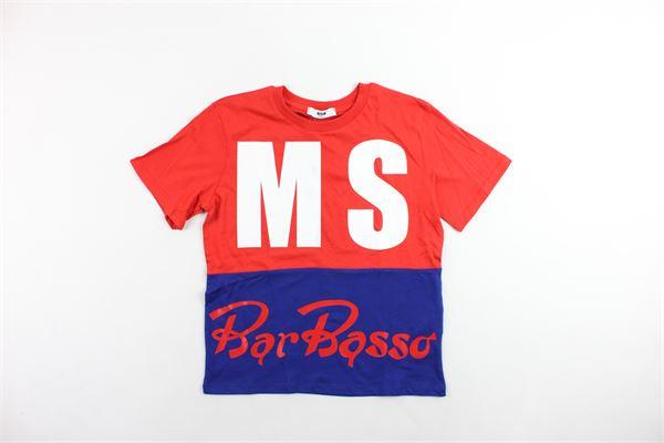 t-shirt mezza manica bicolore con stampa MSGM | T-shirts | 021377ROSSO