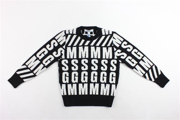 maglione in lana girocollo tinta unita con stampe in contrasto MSGM | Maglie | 021640NERO