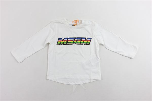 shirt manica lunga tinta unita con stampa 100%cotone MSGM | Shirts | 021770BIANCO